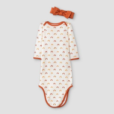 Baby Girls' Earth & Sky Nightgown with Headwrap - Cloud Island™ Cream/Orange 0-3M