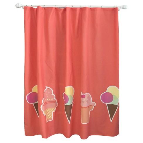 Ice Cream Shower Curtain Brick Red