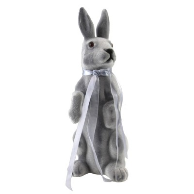 """Easter 10.5"""" Gray Standing Bunny Rabbit Flocked Spring  -  Decorative Figurines"""