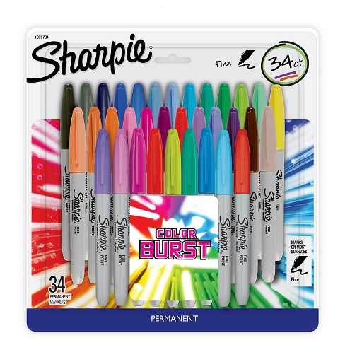 Sharpie Color Burst Permanent Markers, Fine Tip, 34ct - Multicolor Ink - image 1 of 2