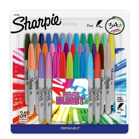 Sharpie Color Burst Permanent Markers, Fine Tip, 34ct - Multicolor ...