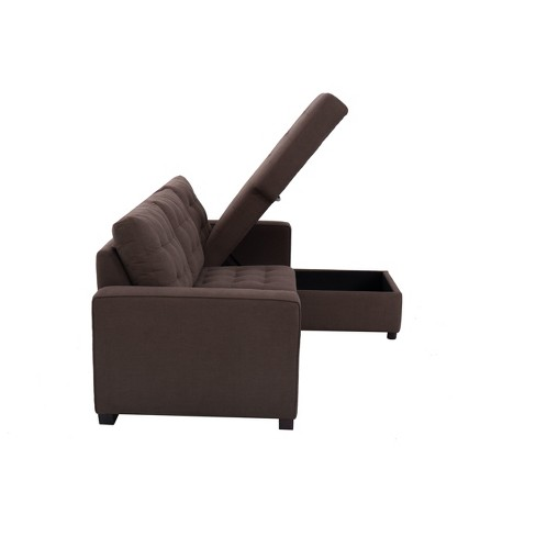 Bernard Tufted Microfiber Convertible Sofa With Storage In Espresso Target