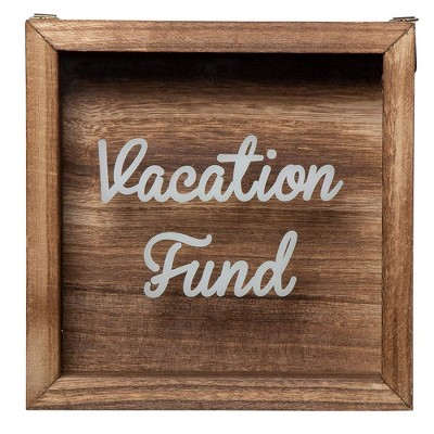 Genie Crafts Wooden Shadow Box Bank, Vacation Fund (7.1 x 1.8 Inches)