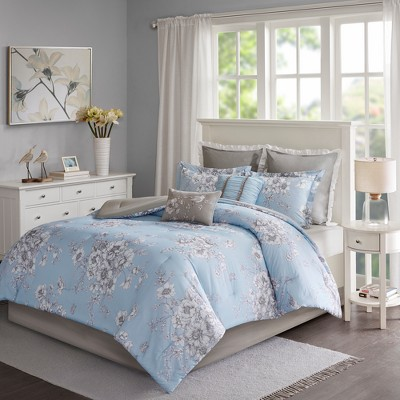 Blue Terry Cotton Printed Comforter Set (Queen)8pc
