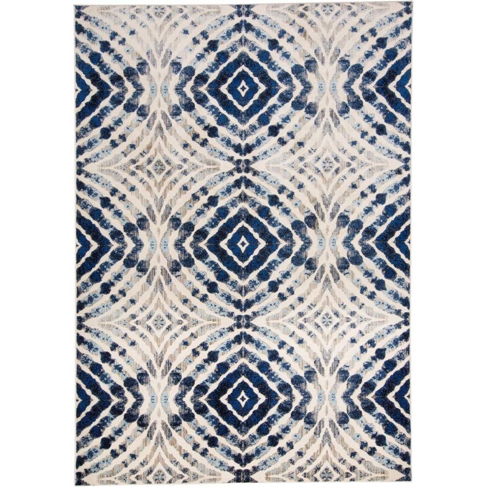 7'10X11' Geometric Loomed Area Rugs Dusk - Room Envy, White Off-White