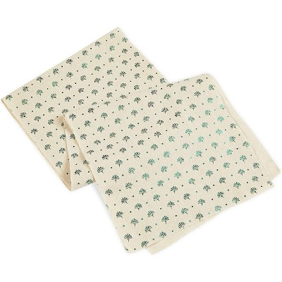 Juvale Placemats with Table Runner (Green Foil, 6 Pieces)