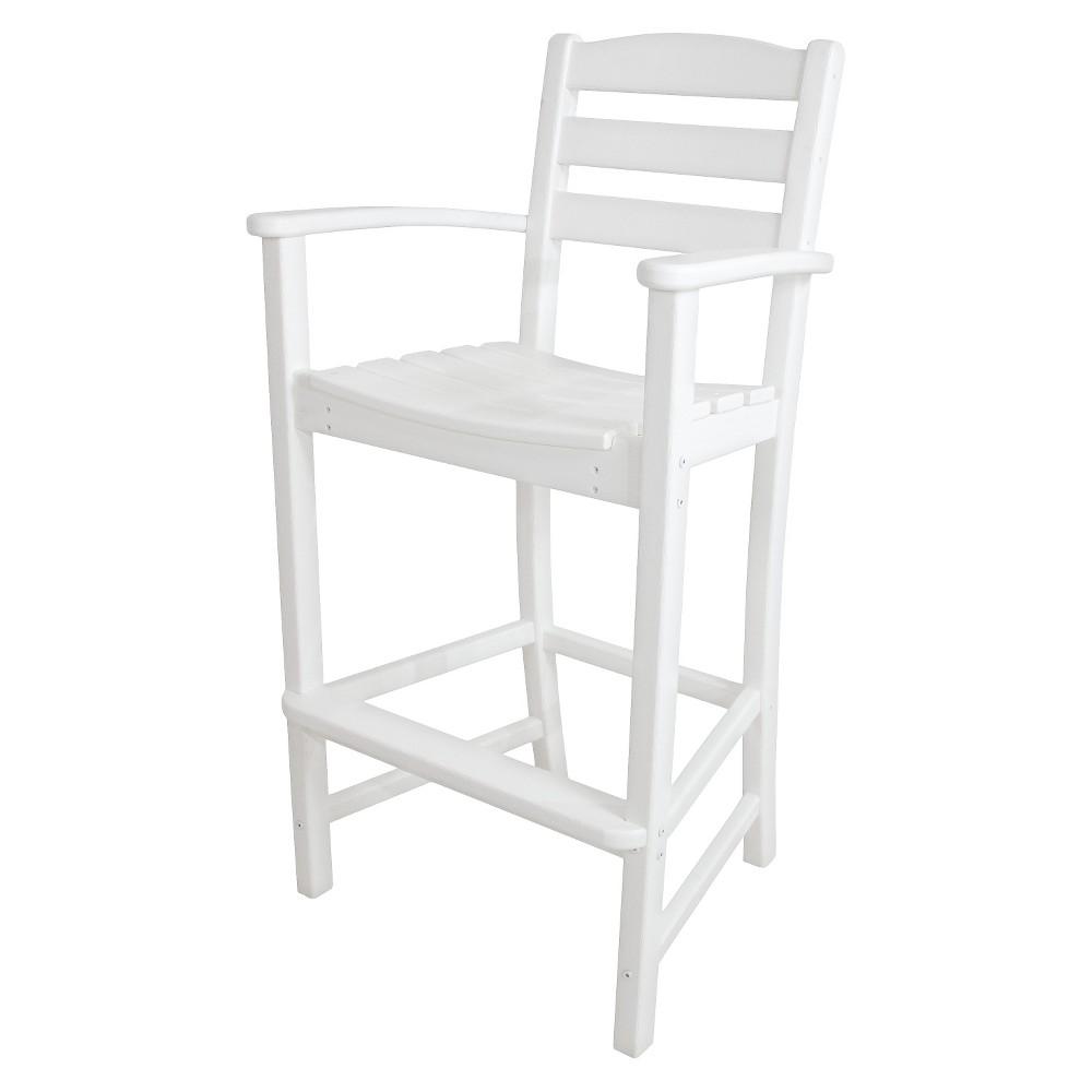 Polywood La Casa Bar Height Patio Dining Arm Chair - White