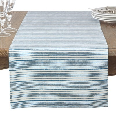 Bright Navy Thin Stripe Table Runner - Saro Lifestyle