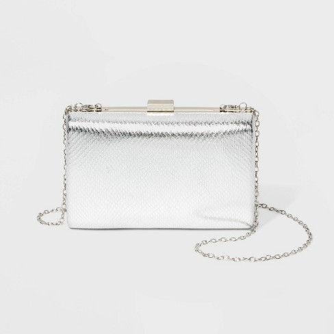 Estee & Lilly Metallic Rectangle Minaudiere Clutch - Light Silver - image 1 of 3