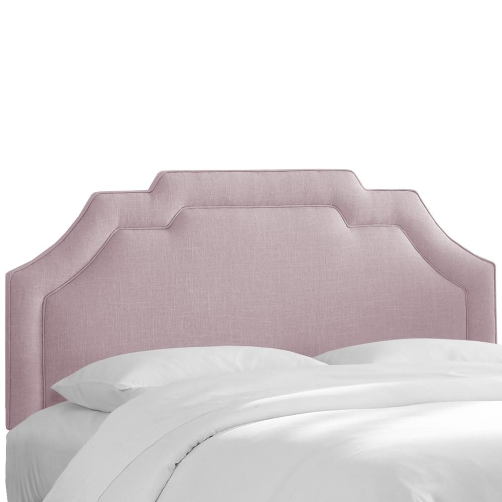 Axel Notched Border Headboard Queen Linen Smokey Quartz Furniture - Skyline Furniture