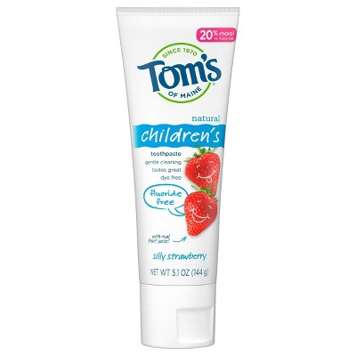 Tom's of Maine Silly Strawberry Children's Fluoride-Free Toothpaste - 5.1oz