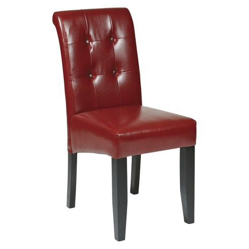 Parsons Button Back Dining Chair Wood - Crimson Red - Office Star - image 1 of 1