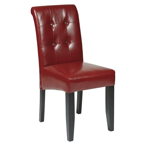 Parsons Button Back Dining Chair Wood Crimson Red - OSP Home Furnishings