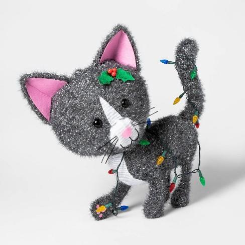 Christmas Incandescent Tinsel Cat Novelty Sculpture Lights - Wondershop™ - image 1 of 2