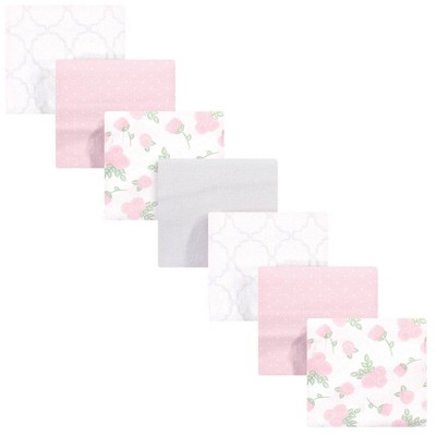 Hudson Baby Unisex Baby Cotton Flannel Receiving Blankets Bundle - Pink Rose One Size