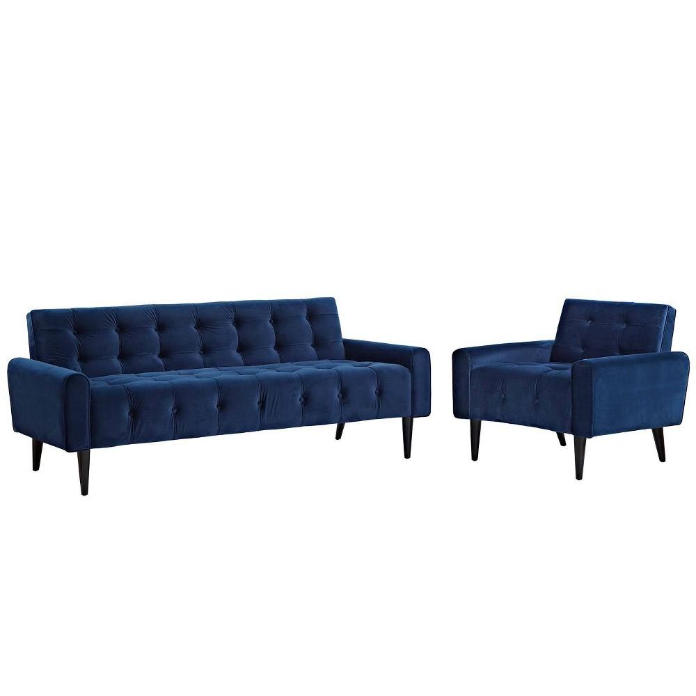 Delve Set of 2 Living Room Set Velvet Navy (Blue) - Modway
