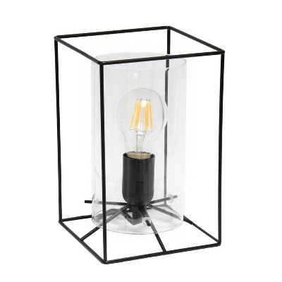 Framed Table Lamp with Cylinder Glass Shade Black - Lalia Home