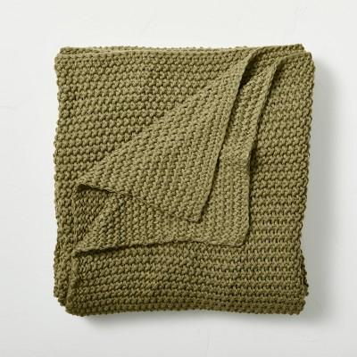 Full/Queen Chunky Knit Bed Blanket Moss Green - Casaluna™