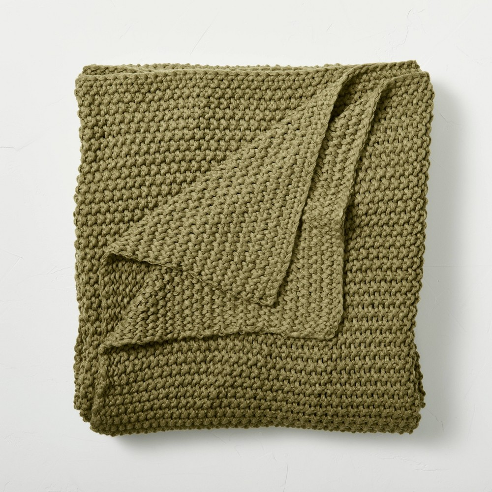 Full Queen Chunky Knit Bed Blanket Moss Green Casaluna 8482