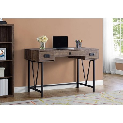 "Monarch Specialties Laptop Table with Drawers-Industrial Style-Metal Legs Computer Desk Home & Office, 48"" L, Brown Reclaimed Wood Look"