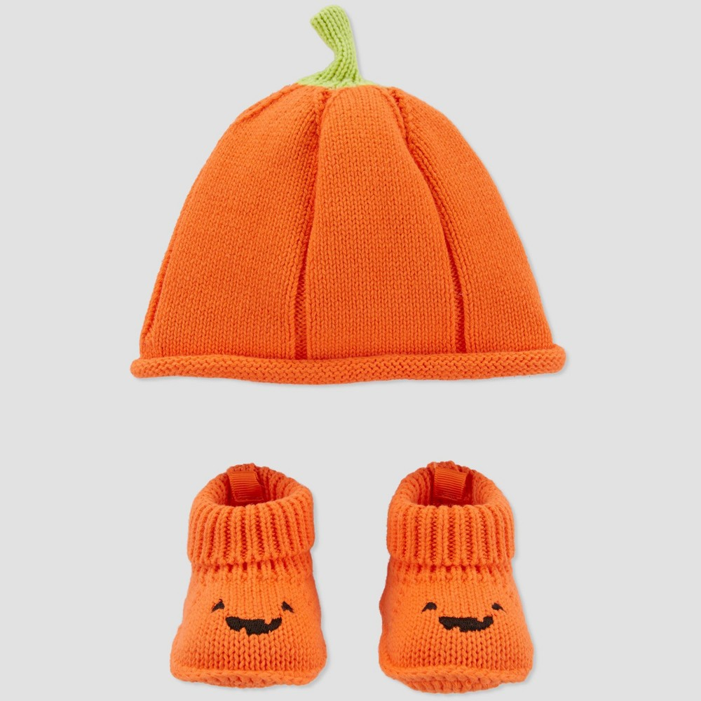 Image of Baby Halloween Pumpkin Hat & Booties Set - Just One You made by carter's Orange One Size, Kids Unisex