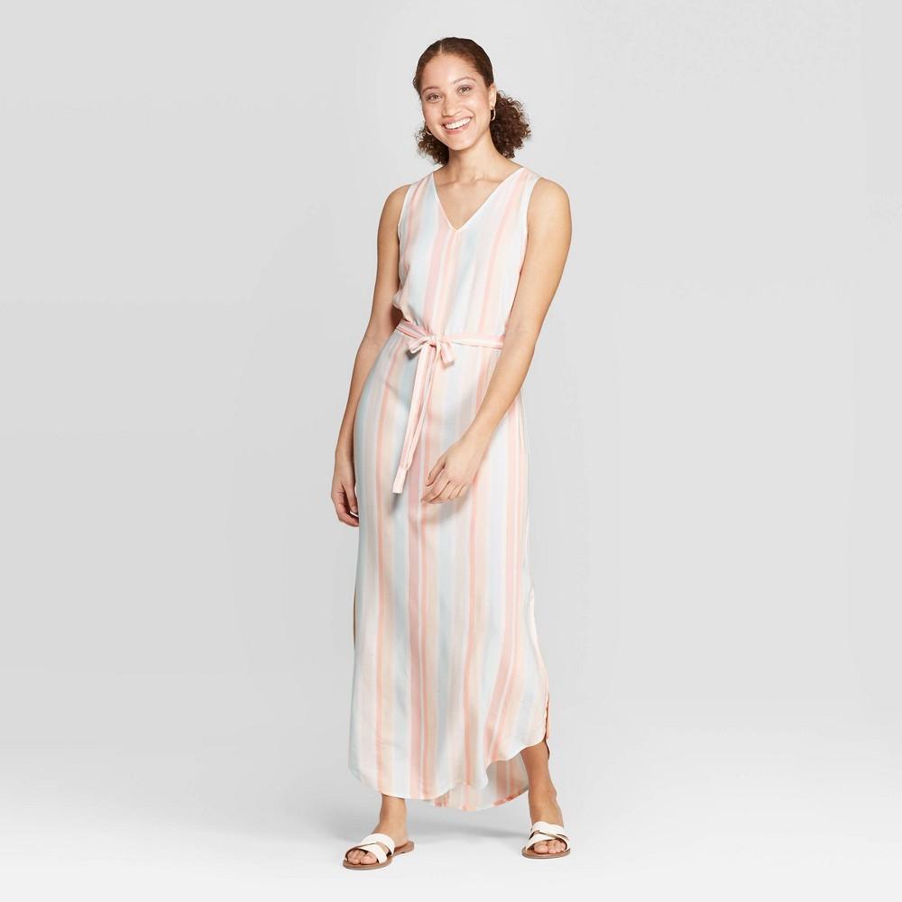 Women's Striped Sleeveless V-Neck Maxi Dress - A New Day Blue/Tank/Pink Xxl, Multicolored