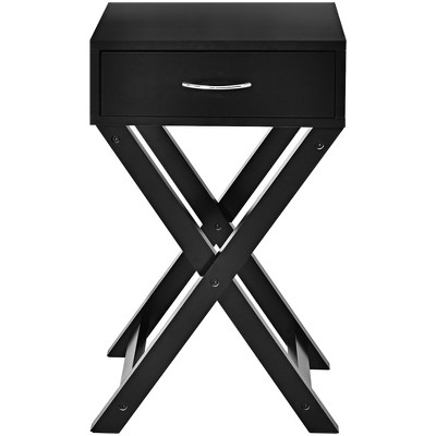 Costway Nightstand x-Shape Drawer Accent Side End Table Modern Home Furniture Black