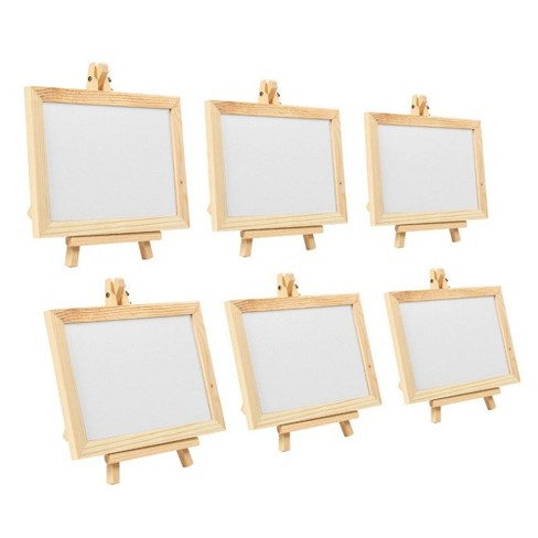 """6-Pack Wooden Framed Whiteboard Sign with Easel Stand for Restaurant Wedding Cafe, 7"""" x 7"""" x 4.25"""" - image 1 of 4"""