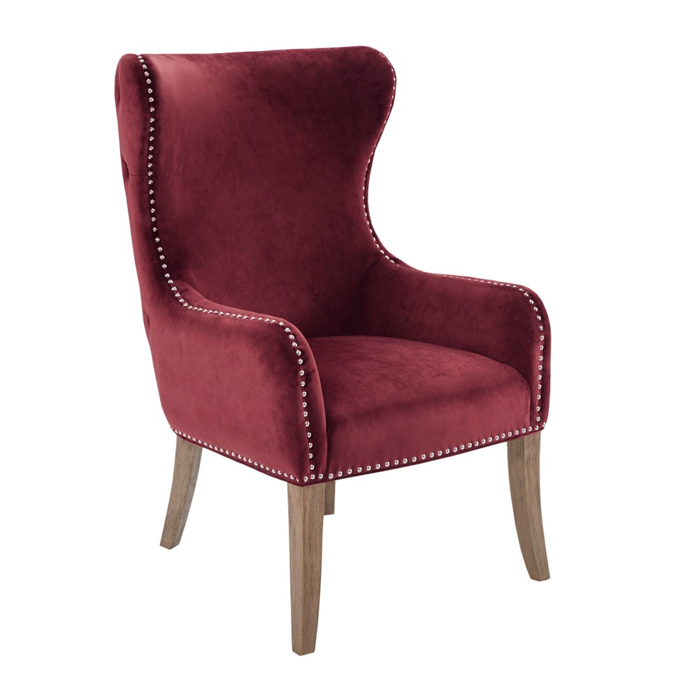 Silloth Button Tufted Back Accent Chair Burgundy (Red)