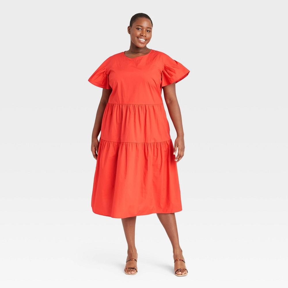 Women 39 S Plus Size Flutter Short Sleeve A Line Dress Who What Wear 8482 Dark Red 1x
