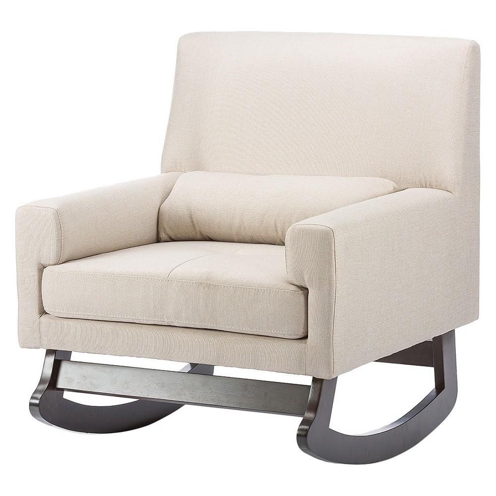 Imperium Linen Contemporary Rocking Chair with Pillow Light Beige - Baxton Studio, Buff Beige
