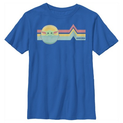 Boy's Star Wars The Mandalorian The Child Retro Stripes T-Shirt