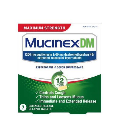 Mucinex DM Max Strength Extended Release Bi-Layer Expectorant Tablets - 7ct : Target
