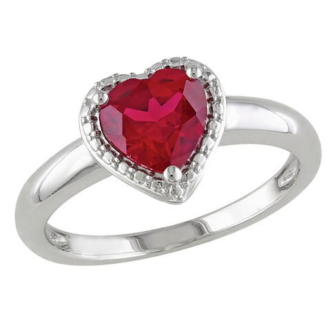 Allura 1 5/8 CT. T.W. Simulated Heart Cut Ruby Ring in Sterling Silver - image 1 of 2