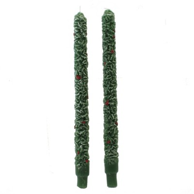 """Christmas 13.5"""" Holly Taper Candle Set Wax Flame Set/2  -  Flame Candles"""