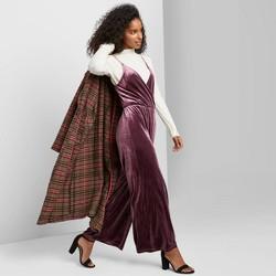 Women's Sleeveless V-Neck Velvet Wrap Jumpsuit - Wild Fable™ Plum