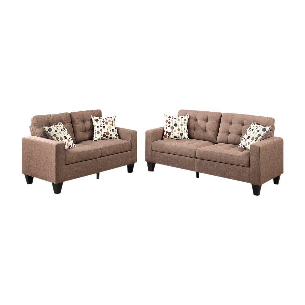 Image of 2pc Linen Fabric Sofa Set Light Brown - Benzara