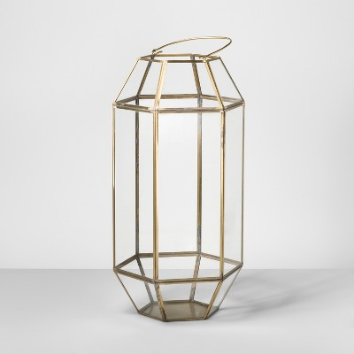 22  Outdoor Lantern Hexagon Glass with Gold Frame - Opalhouse™