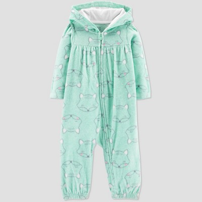 Baby Girls' Fox Print Jumpsuit - Just One You® made by carter's Mint Newborn