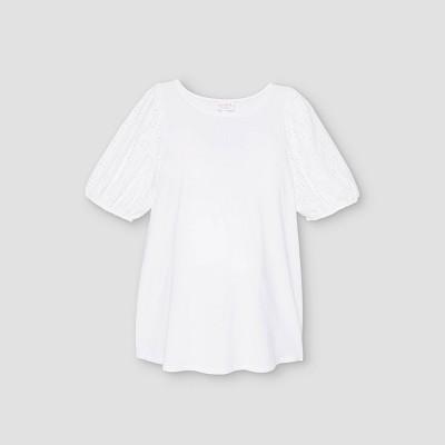 Eyelet Short Sleeve Knit Maternity Blouse - Isabel Maternity by Ingrid & Isabel™