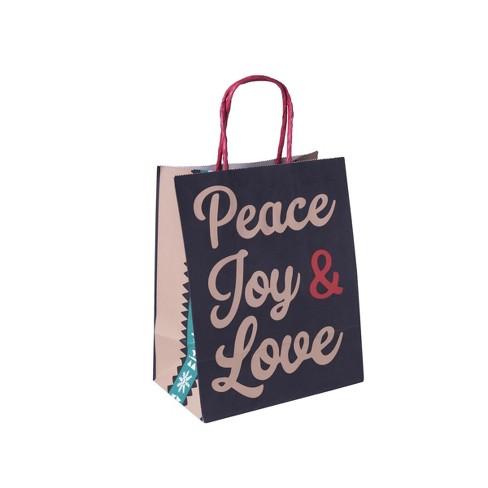 Peace Joy and Love Christmas Gift Bag Black - Wondershop™ - image 1 of 1