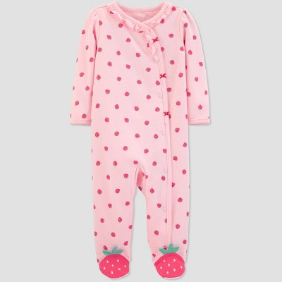 Baby Girls' Strawberry Print Sleep 'N Play One Piece Pajama - Just One You® made by carter's Pink 6M