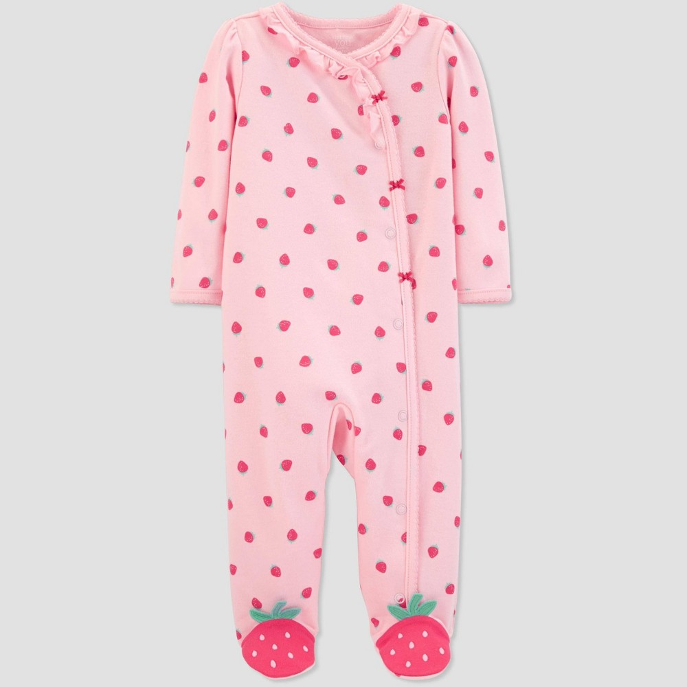 5c6a51705 Baby Girls Strawberry Print Sleep N Play One Piece Pajama Just One You made  by carters Pink 3M