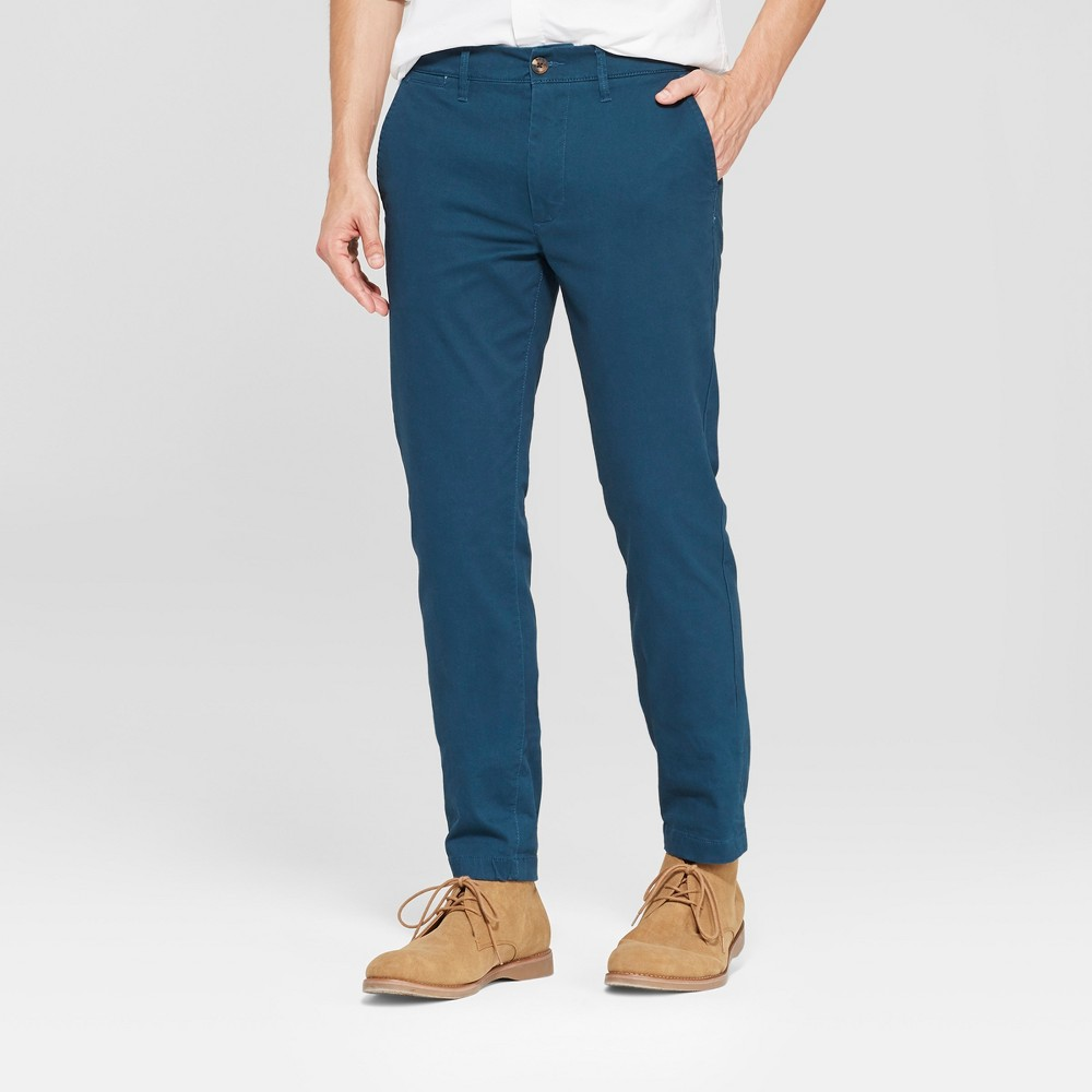 Men's Skinny Fit Hennepin Chino Pants - Goodfellow & Co Teal 29x30, Blue