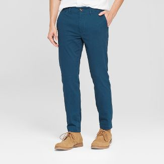 Men's Skinny Fit Hennepin Chino Pants - Goodfellow & Co™ Teal 33x30