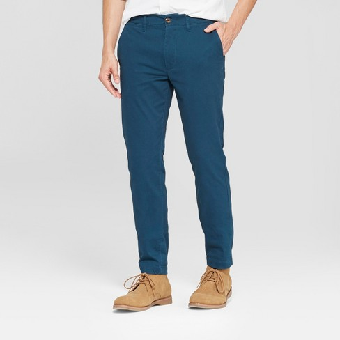 Men's Skinny Fit Hennepin Chino Pants - Goodfellow & Co™ Teal - image 1 of 3