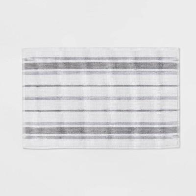 "21""x30"" Performance Cotton Bath Mat Gray Accent Stripe - Threshold™"