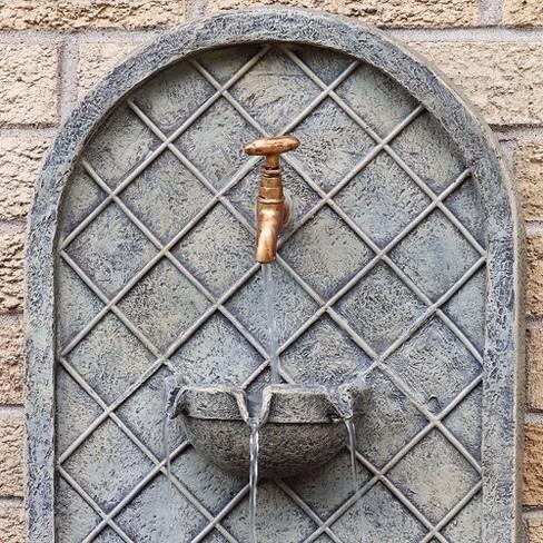 26 Messina Outdoor Solar Wall Water Fountain French Limestone Sunnydaze Decor Target