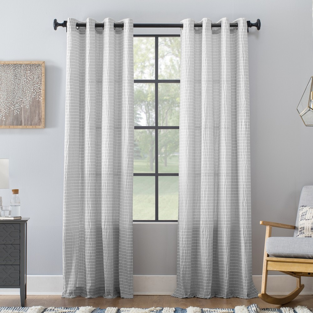 "Image of ""50""""x95"""" Seersucker Stripe Cotton Blend Grommet Top Curtain Gray/White - Archaeo"""