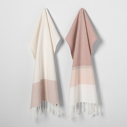 2pk Rose Gold Stripe Towels - Hearth & Hand™ with Magnolia